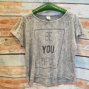 """American Age Marbled Gray """"Be-YOU-Tiful"""" Tee!"""